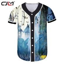 398cefacfa1ca CJLM осень Новый стиль Для мужчин Хэллоуин Творческий Бейсбол рубашка 3D  печатных Bat тыквы личность футболка большой Размеры 5X.