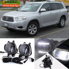 eeMrke For Toyota Highlander XU40 XU50 2 in 1 Double Led Guiding DRL Fog Lights Lamp With Q5 Lens Daytime Running Lights