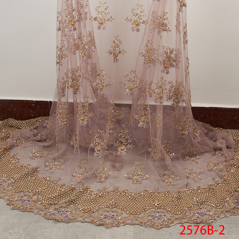 Embroidery French Net Lace Fabric High Quality 3D Handmade Beads Tulle Lace African Lace Fabric for