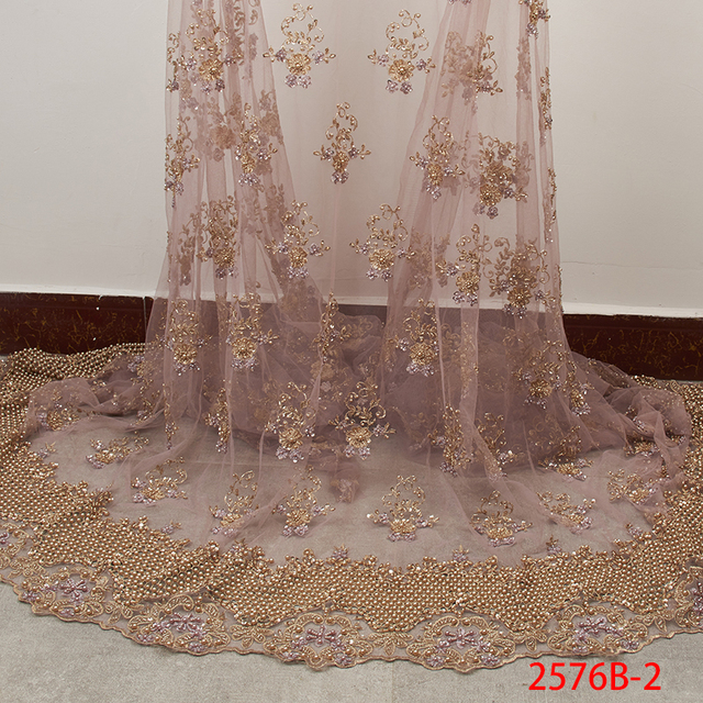 Embroidery French Net Lace Fabric High Quality 3D Handmade Beads Tulle Lace African Lace Fabric for Nigerian Party APW2576B