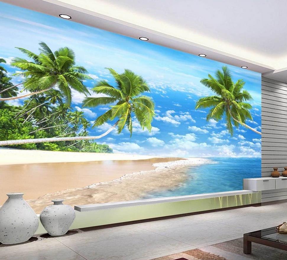 Customize Wallpaper Papel De Parede HD 3d Beautiful Beach Scenery 3d Mural Wallpaper 3d Wall Paper