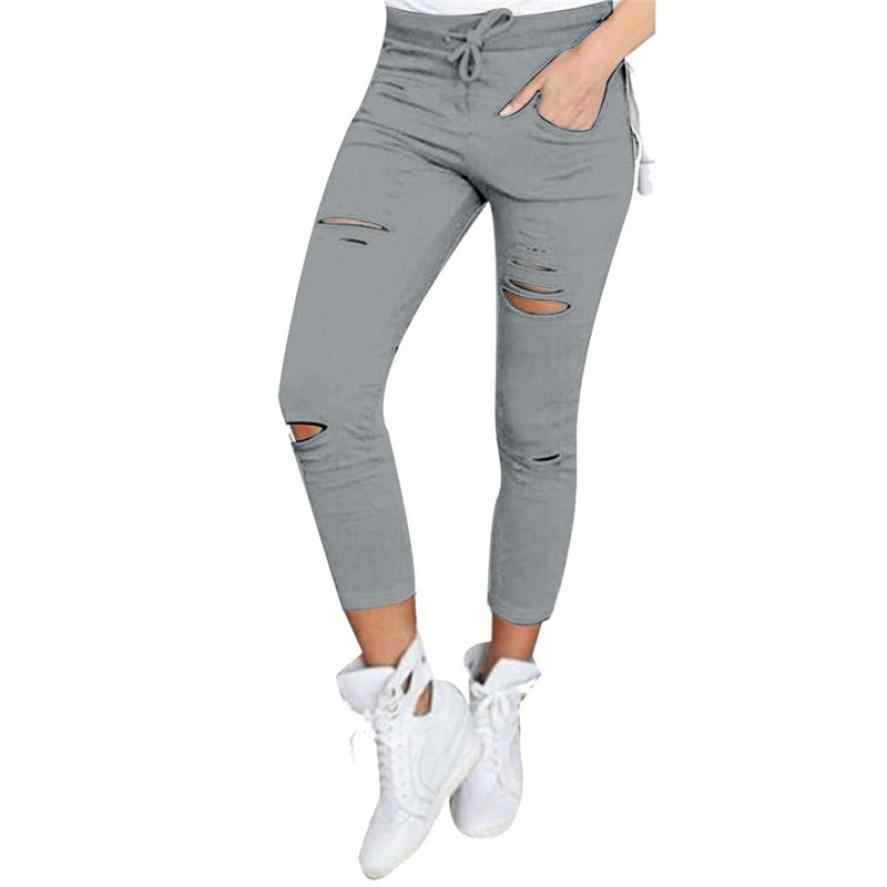 2018 Skinny Jeans Women Denim Pants Holes Destroyed Knee Pencil Pants Casual Trousers Black White Stretch Ripped Jeans  july25
