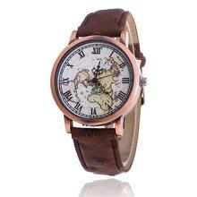 Vogue Sports activities Watch Ladies Classic World Map Leather-based Strap Wristwatch Girls Informal Quartz Watch Clock Relogio Feminino Reward 816