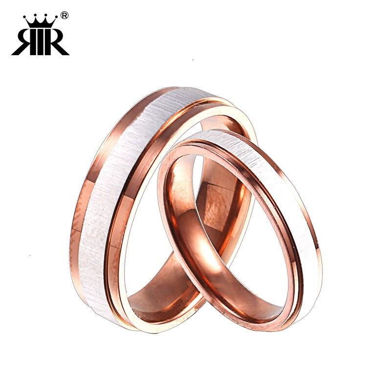 RIR 1 шт. Нержавеющаясталь коричневый Цвет обручальные кольца для женские и мужские 4 мм/6 мм Ширина выбрать