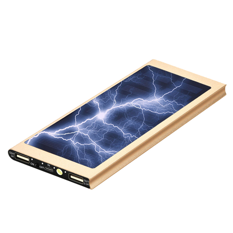 Universal 20000mAh Solar Power Bank External Battery Quick Charge Dual USB Ports Powerbank Charger with LED Light