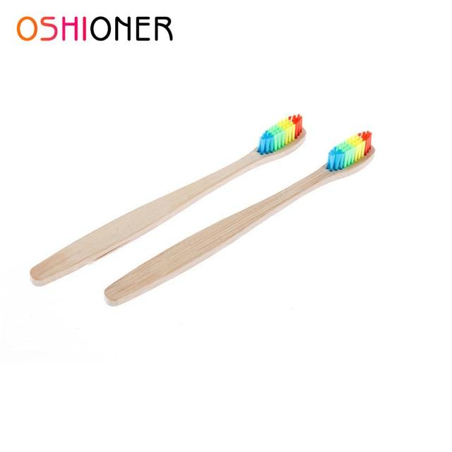 OSHIONER colorido respetuoso con el medio ambiente cepillo de dientes de bambú cuidado bucal mango de bambú cerdas suaves cepillo de dientes blanqueamiento cepillo de dientes