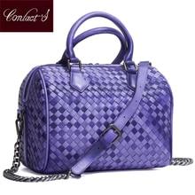 2018 Brand Genuine Leather Bag Women Handbag Knitting Large Capacity Ladies Shoulder Crossbody Bags Casual Tote Bolsa Feminina