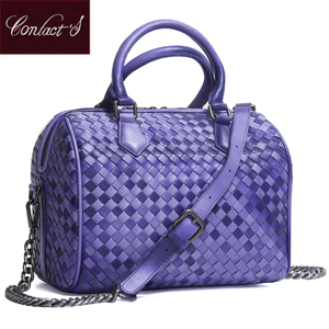 Image 1 - 2020 Brand Genuine Leather Bag Women Handbag Knitting Large Capacity Ladies Shoulder Crossbody Bags Casual Tote Bolsa Feminina