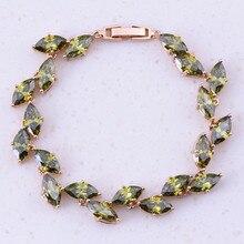 Verde distintivo Criado Emeridot Amarelo Cor de Ouro Charme Pulseiras Para As Mulheres Do Partido Bijuterias Acessórios Tendência B0035