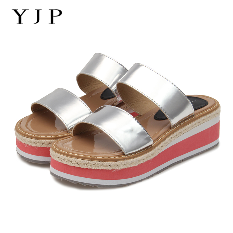 YJP Women 4cm Platform Sandals, Gold/Silver Ladies Wedges Slip On Shoes, Hemp Decoration Thick Bottom Women Sandals 2017 Summer phyanic 2017 gladiator sandals gold silver shoes woman summer platform wedges glitters creepers casual women shoes phy3323