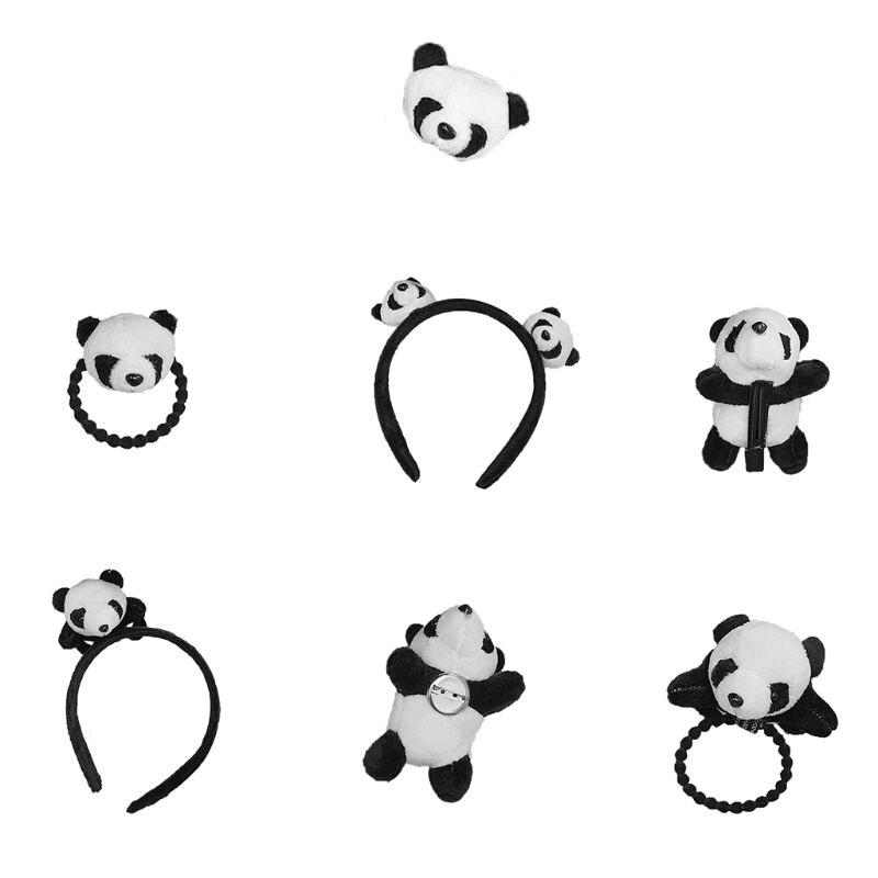 Hot Sale Panda Headband   Headwear   Hair Clip Cute Pins Brooch Headdress Lovely Girls Stuffed Animal Soft Plush Decoration Hairband