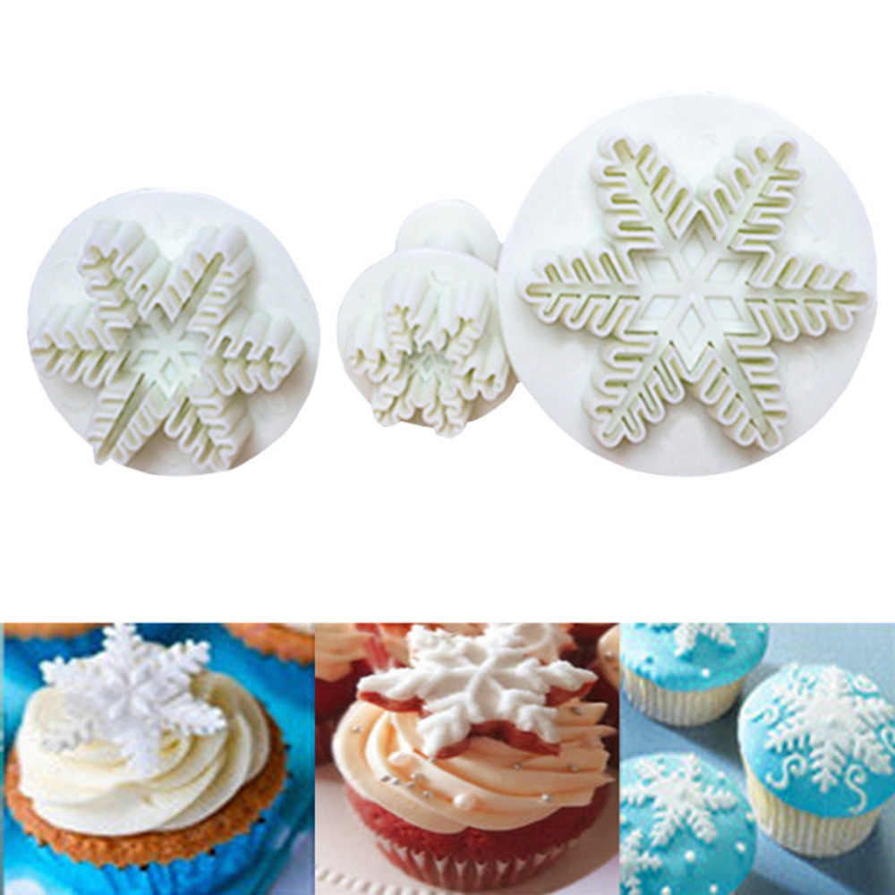 3pcs Set Snowflake Fondant Cookie Cutters Cake Decorating Plunger Sugar Craft Cutter Mold Christmas Xmas Cake Decorating Tools