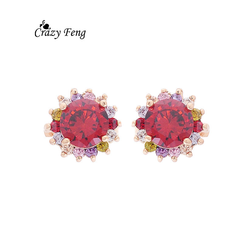 Super Deal Lady  Jewellery Fashion Gold Plated Kenya Jewelry Earrings Red Clear Zirconia Round Earings Hoop Girls Gift jewellery