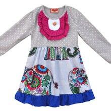 Boutique Cute Girls Long Sleeve Dress Stripes Button With Elephant Fabrics Swing Clothing Ruffle Remake Children Dress CX003