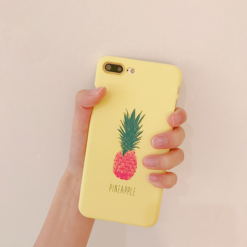Kawaii Summer Fruit Pattern Phone Case For coque iPhone 7 7Plus Cute Pineapple Yellow matte case