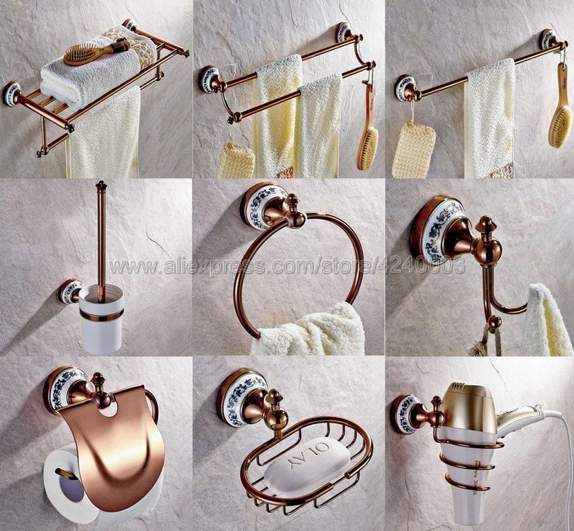 Rose Gold Copper & Porcelain Base Bathroom Hardware Towel Shelf Towel Bar Paper Holder Cloth Hook Bathroom Accessories Kxz032 european towel rack paper holder hooks bath hardware set copper racks rose gold ceramic base bathroom hardware accessories ym6