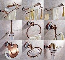 Rose Gold Copper & Porcelain Base Bathroom Hardware Towel Shelf Bar Paper Holder Cloth Hook Accessories Kxz032
