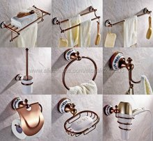 Rose Gold Copper & Porcelain Base Bathroom Hardware Towel Shelf Towel Bar Paper Holder Cloth Hook Bathroom Accessories Kxz032 стоимость
