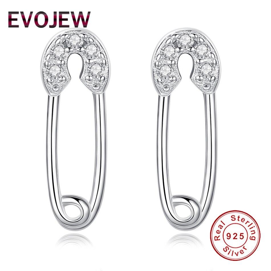 EVOJEW 2018 New Fashion Rhinestone Earrings 925 Silver Sterling Women's Earrings boucle d'oreille for Women Dropshipping