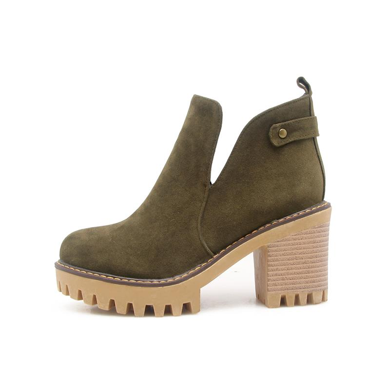 Grande Smeeroon army Bottes Mode Chaussures Pour Plate Cheville Slip Bout Concise Sur Green gray Femme forme Black D'hiver Rivets Rond Taille Femmes De 9DYeWI2HE