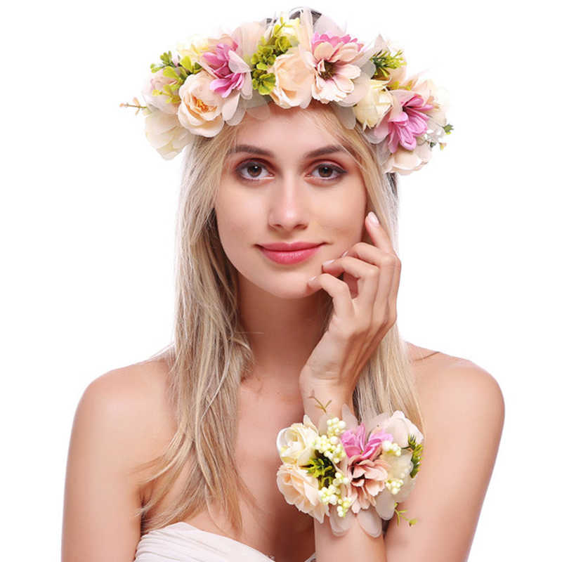 2a8372ed306 Haimeikang Women Wedding Rose Flower Headband Wreath Flower Crown Bracelet  Ribbon Adjustable Handmade Bride Hairband Accessories