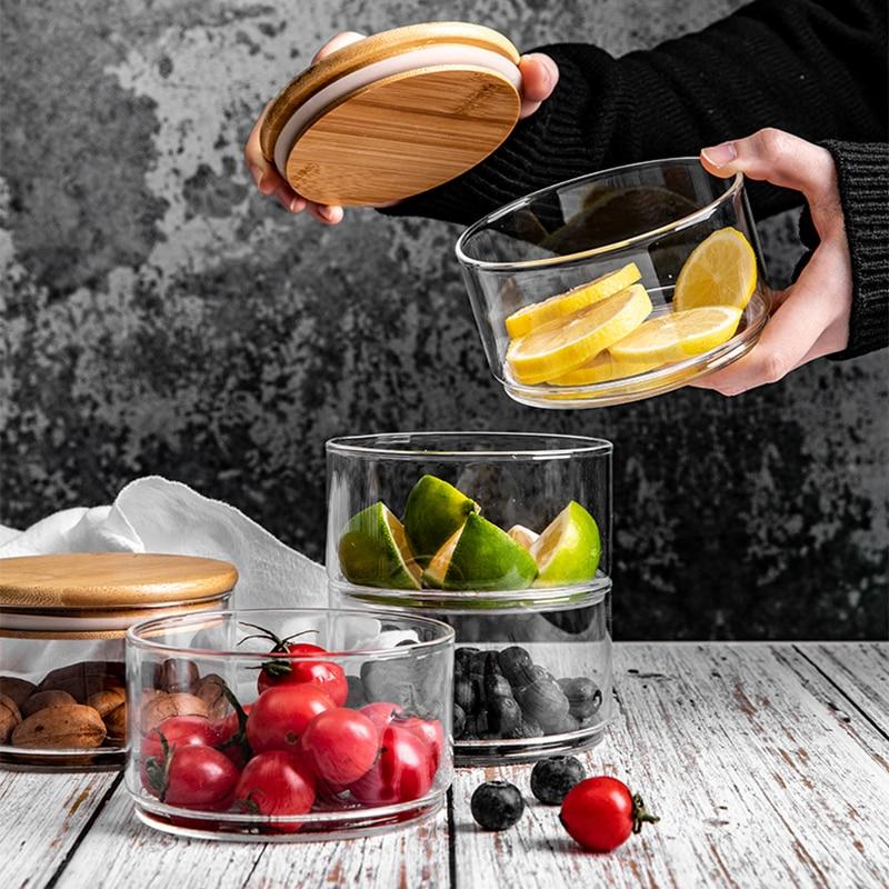 Three Floors Storage Glass Jar with lid Minimalist Candy Food Container Kitchen Organizer Home