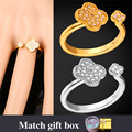 Fashion Jewelry Ring Resizable Wholesale AAA+ Cubic Zirconia Yellow Gold Plated Flower Ring For Women R1408