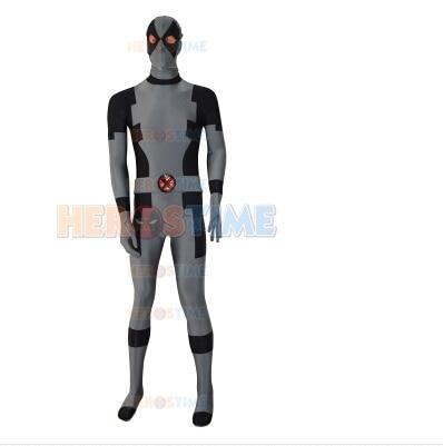 Special Grey Deadpool Costumes Spandex Full body Superhero Zentai Deadpool Costume free shipping