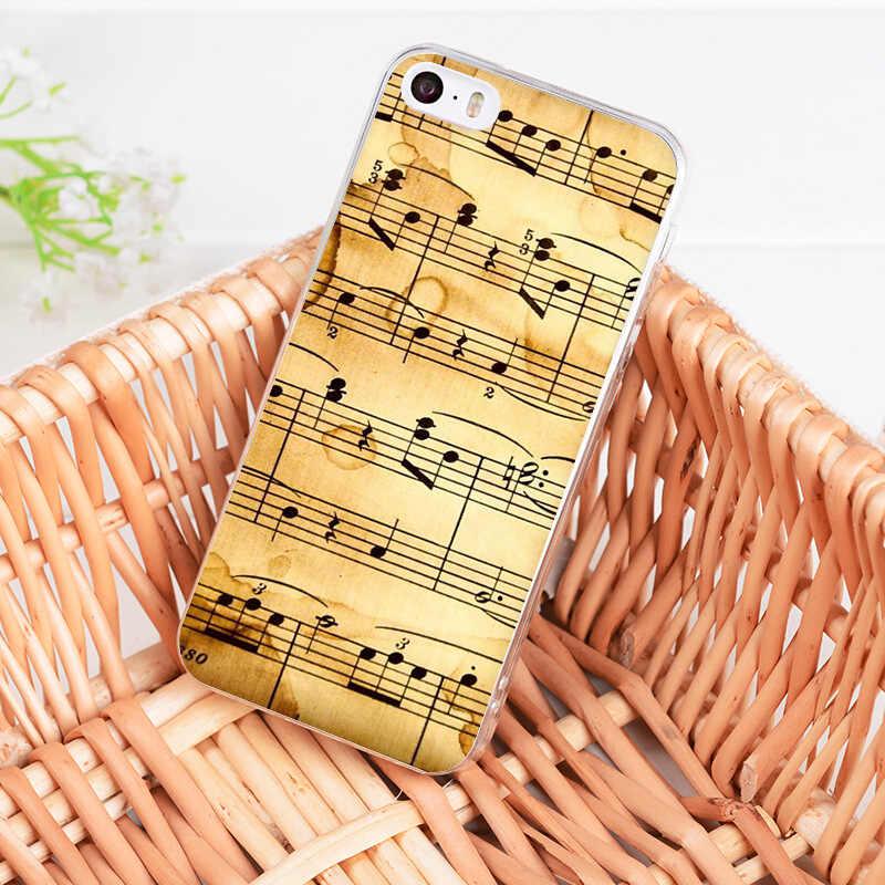 Yinuoda para iphone 7 6 X funda de teléfono de nota musical antigua para iphone 8 7 6 6 S Plus 5S SE 5C 4S XS MAX XR