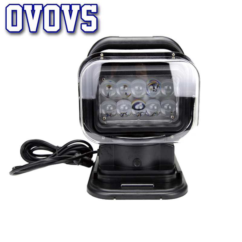 Led searchlight tractor 360 degree 7 50w 12 24v waterproof with remote control spotlight for Off