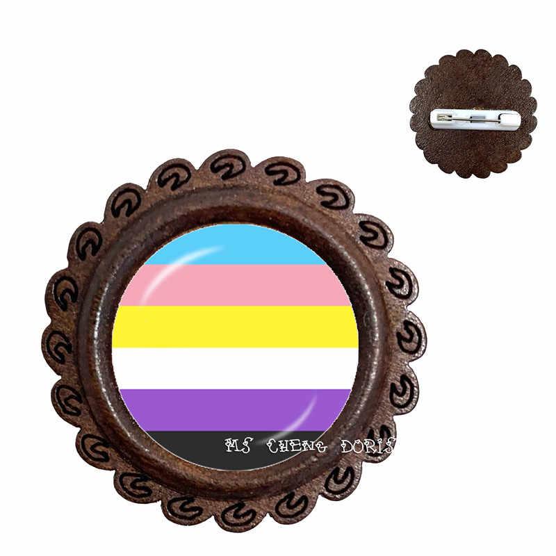 Mutilayered Kleurrijke Homo Lesbisch LGBT Hout Broches Pins Regenboog Vlag Bi Pride Kragen Pins Sieraden Nieuwe Collectie