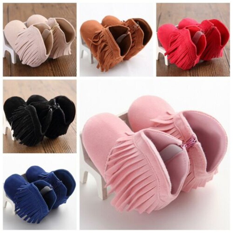 Newborn Baby Infant Shoes Crib Boy Girl Moccasins Moccs First Walkers Tassels Shoes