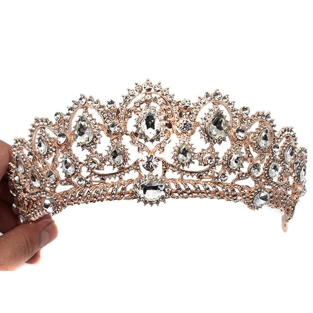 Rosa de Ouro Grande de Cristal Barroco Do Vintage Prom Pageant Coroas de Casamento Strass Tiara de Noiva Para As Mulheres Noiva Acessórios Para o Cabelo