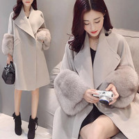 Casaco de Inverno Mulheres outono Manga Longa Faux Fur Patchwork Pockets Lady Casual Outwear Jaqueta de Gola de Abertura de cama Cor Sólida H