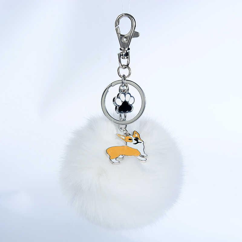 Galés Corgi Pembroke conejo piel pompón llavero para Mujeres Hombres aleación Pom perro colgante bolso encanto llavero Coche llavero llavero