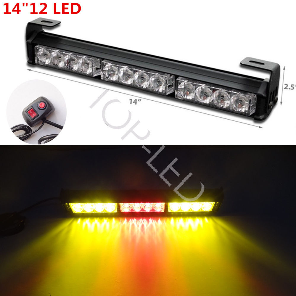 CYAN SOIL BAY 14 12LED Emergency Warning Traffic Advisor Flash Strobe Light Bar 12V Red Amber