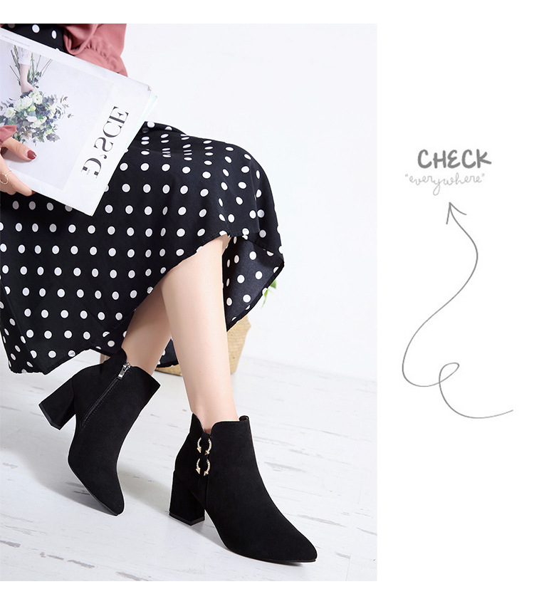 2019 Spring Autumn Women Boots New Fashion Casual Ladies Flock Short Boots Female Middle Heeled Boots M8D261 (28)