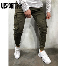 Spring Autumn Men Joggers Pants Casual Slim Fit Solid Color Trousers Men Bodybuilding Fitness Cargo Pants with Side Big Pockets