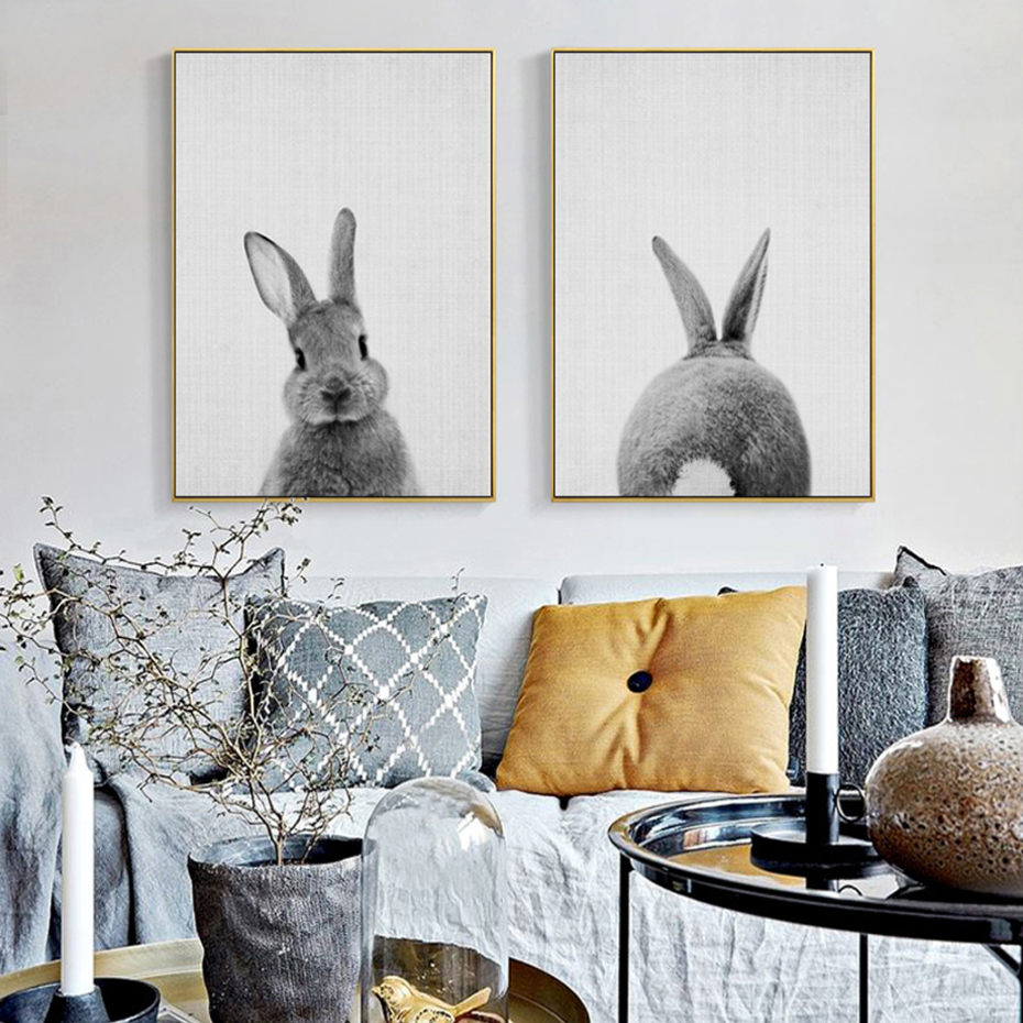 Kawaii Rabbit Tail Canvas Painting Nursery Wall Art Animal Poster Print Nordic Woodland Picture Kids font