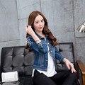 Remache rebite 2016 Outono Inverno Coreano de Slim Fazer O Velho Denim Rebite Jaqueta Jeans Mulheres Casaco