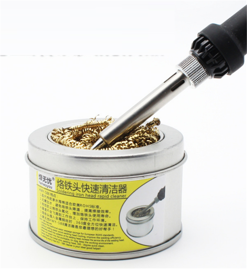 1pcs hanwuyou 588 Wire With Stand Set Welding Soldering Solder Iron Tip Cleaner holder nozzle cleaning nozzle unit Clean ball cmt 599b welding head tip cleaning soldering iron tip cleaner