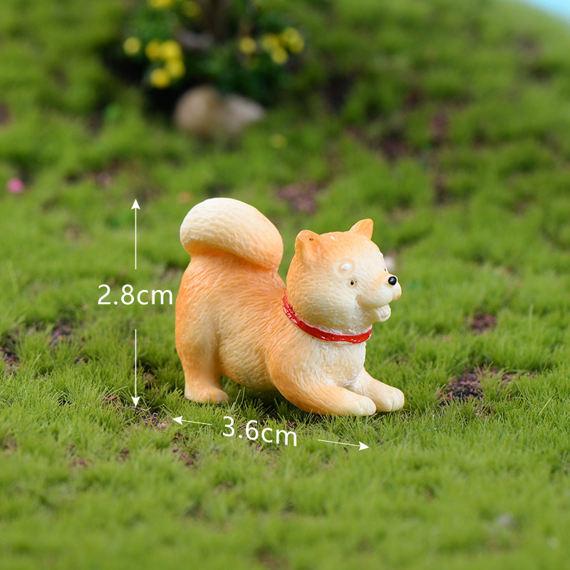 Artificial Puppy Akita Dog Resin Animal Model Figurine Dollhouse Cake Home Decor Miniature Fairy Garden Decoration Accessories