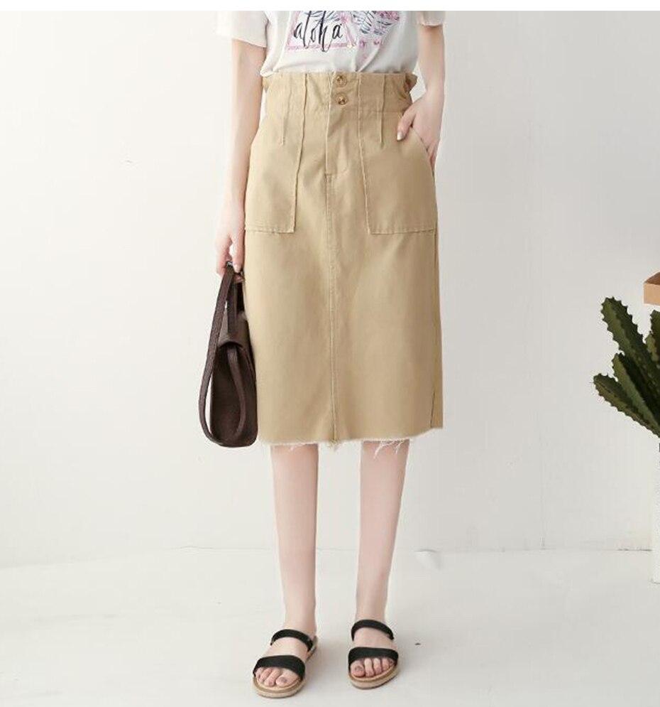 3d402224b2 2019 TIGENA Denim Cotton Skirts Women With Pockets 2018 Summer High ...