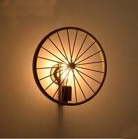 Industrail roda de bicicleta ferro do vintage lâmpadas parede interior luminária para sala estar jantar iluminação casa edison lâmpada