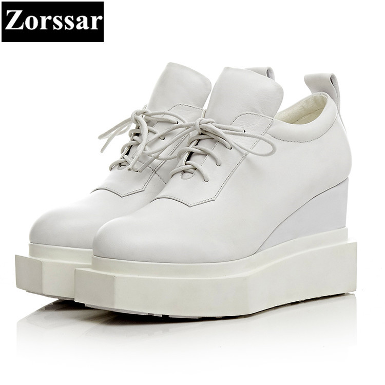 Zorssar high quality Genuine Leather women shoes wedges High Heels lace up platform pumps womens