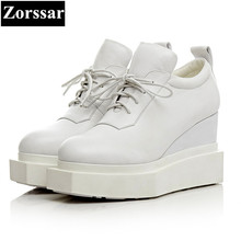 {Zorssar} high quality Genuine Leather women shoes wedges High Heels lace up platform pumps womens casual shoes Black, white