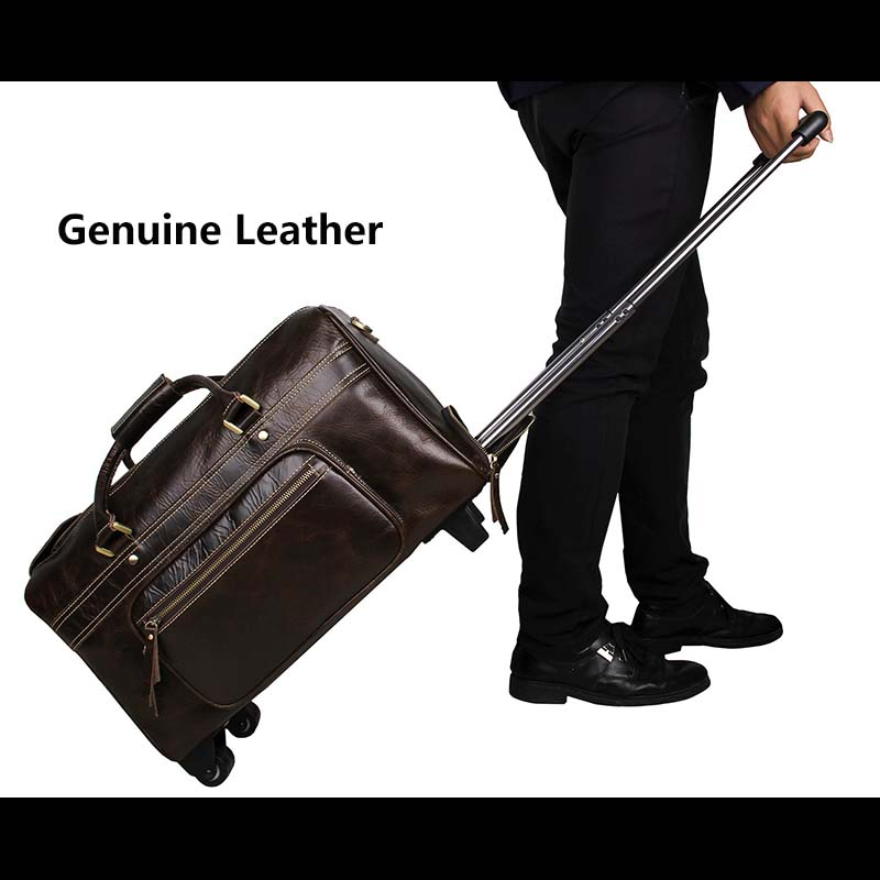 LeTrend Brown Retro Genuine Leather Travel Bags Men Business Rolling Luggage Suitcase Wheels Cabin Trolley Shoulder Laptop Bag