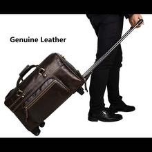LeTrend Brown Retro Genuine Leather Travel Bags Men Business