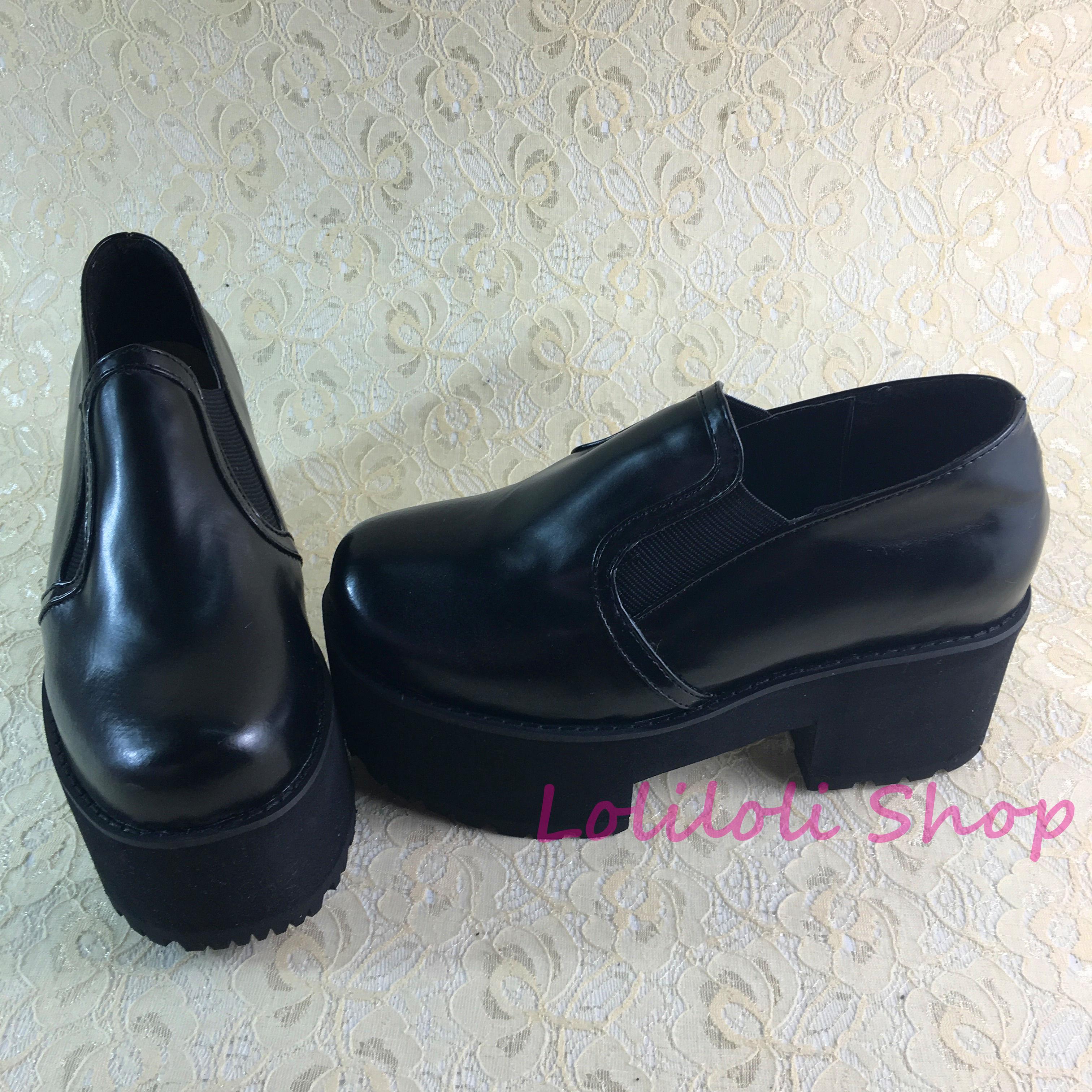 sur Antaina Peau Épais Loliloliyoyo 1 Talon Lolita Princesse multi Doux Noir Personnalisé Noir Brillant 5125n Chaussures Gothique Sauter 1nOq4