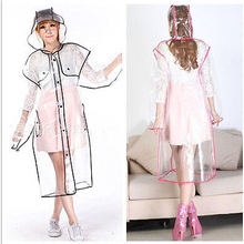 Portable Women's Clear transparent Thickned Hooded RainCoat PVC Rain Coat/ red blue pink yellow